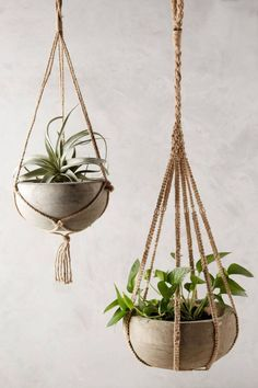 Kiri Wood Hanging Planter by Anthropologie