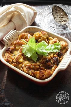 Sausage Pine Nut Dressing For One, filled with crunchy toasted pine nuts, spicy sausage and morsels of soft sourdough bread. A single serving Thanksgiving side dish.