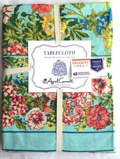 f4ba45a385d6 APRIL CORNELL COUNTRY TABLECLOTH Blue Green Red Gold 70