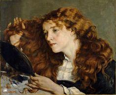"""8º Realismo. Gustave Courbet  """"Jo, la bella irlandesa"""" 1865-1866, óleo sobre lienzo, 56 x 66 cm, Metropolitan Museum Nueva York. Se le da un toque natural a la figura, describe la realidad como es, huyendo del romanticismo."""