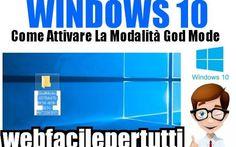 (Windows 10 ) Come Attivare La Modalità GodMode  Per Aver Accesso Diretto a Tutte Le Impostazioni Nascoste Del Sistema Come Attivare La Modalità GodMode - Per Aver Accesso Diretto a Tutte Le Impostazioni Nascoste Del Sistema  Ritorniamo a parlare di windows 10 , oggi vedremo come abilitare la modalità GodMode , funz #windows10 #godmode #sistema
