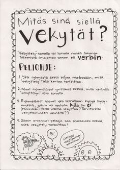 Vekyttely-peli verbien harjoitteluun. Class Activities, Camping Activities, Activity Games, Finnish Language, Teaching Materials, Primary School, Literature, Kindergarten, Preschool