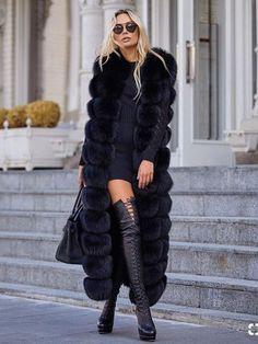 Tatyana Furclub Real Fur Coat X-Long Women Vest Natural Fox Fur Jacket High Street New Real Fur Jackets Plus Size Thick Warm(China) Fashion Mode, Fur Fashion, Womens Fashion, All Black Fashion, Fashion Trends, Mode Outfits, Chic Outfits, Fashion Outfits, Fox Fur Jacket