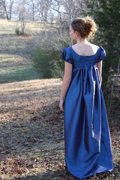 Imperial Blue, Crossed Neckline Regency Dress, Formal Ball Gown, and Reenactment Costume