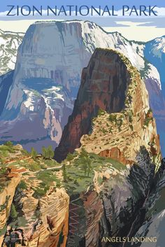 Zion National Park, Utah - Angels Landing - Lantern Press Artwork (Art Print Available) National Park Posters, Zion National Park, Zion Park, Retro Poster, Poster Poster, Parcs, Vintage Travel Posters, Belle Photo, Wall Canvas