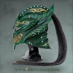 Green Elven Knight Helmet by =Azmal on deviantART NOT MINE- click picture to go to Azmal's wonderful gallery Helmet Armor, Knights Helmet, Arm Armor, Soldier Helmet, Fantasy Armor, Fantasy Weapons, Medieval Fantasy, Elves Fantasy, Larp