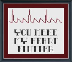 To all my nurses out there:EKG atrial flutter cross-stitch pattern