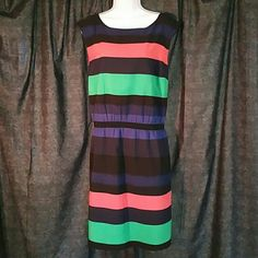 "Ann Taylor Loft Shift Dress Size XL Beautiful striped Ann Taylor Loft Shift dress. Size XL. Bust 42"", Waist 32"". From under arm to hem 31"", from collar to bottom 38"" . Hem falls just below the knee. LOFT Dresses"