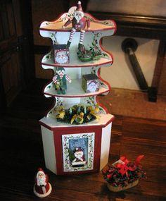 Dollhouse Miniature Artisan Karen Markland Corner Cupboard Christmas 3D Santa