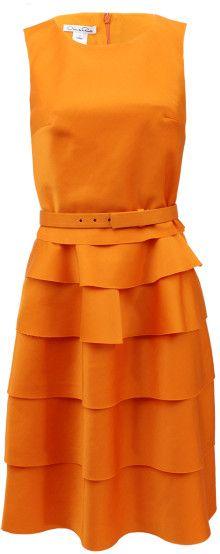 Oscar de la Renta Sleeveless Tiered Bell Bottom Dress - Lyst