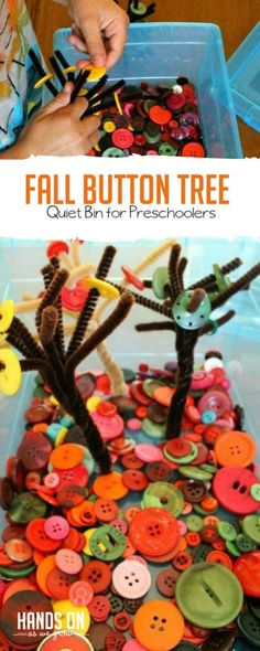 Easy Fall Button Tree Quiet Bin for PreK Kids A great idea to help kids work on fine motor and a fun fall theme- put buttons on the pipe cleaner trees! Great for preschool kids this fall during quiet time. Fall Activities For Toddlers, Quiet Time Activities, Vocabulary Activities, Baby Activities, Indoor Activities, Autumn Crafts, Fall Crafts For Kids, Fall Crafts For Preschoolers, Toddler Crafts