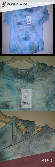 Nwt Elisa Cavaletti Italian made blouse top Sz S New with tags by Elisa Cavaletti designed by Daniela Dallavalle. This is a gorgeous top wirh lots of detail. It has a mesh layer in front and back. A pretty brooch on one shoulder. Peek a boo shoulders. Made in Italy  Designer piece. Elisa Cavaletti Tops Blouses