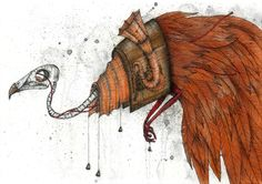Kaitlin Beckett. Clockwork Bird, 2009. Watercolour, chalk pastel, conte crayon and ink on canvas,25cm x 35cm.