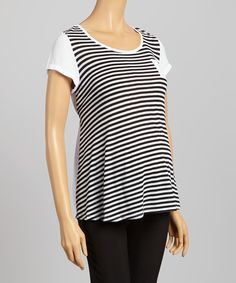 Take a look at the QT Maternity Black & White Stripe Maternity Top - Women on #zulily today!