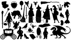 Illustration of fairytale silhouettes on the white background vector art, clipart and stock vectors. Silhouette Dragon, Fairy Silhouette, Spray Paint Stencils, Shadow Theatre, Doodle Paint, Manualidades Halloween, Shadow Play, Shadow Puppets, Halloween Signs