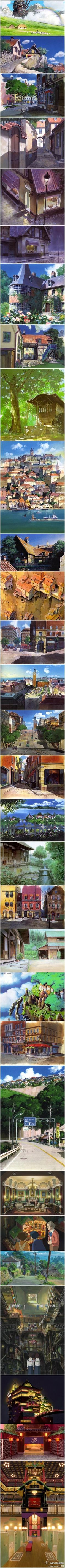 Background artwork for various films exquisitely done by Hayao Miyazaki and his team at Studio Ghibli. Environment Concept Art, Environment Design, Hayao Miyazaki, Animation Background, Art Background, Art Internet, Ghibli Movies, Howls Moving Castle, Anime Scenery