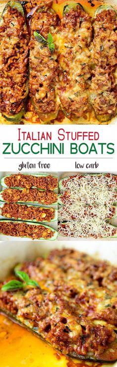 Italian Stuffed Zucchini Boats #lowcarb #glutenfree | myzucchinirecipes.com