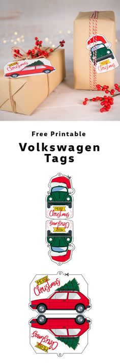Personalize your Christmas gifts with a Volkswagen twist. These free printable DIY gift tags feature the original Beetle and the classic Golf GTI. You can use the pre-coloured version or colour them yourself.