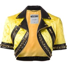 Moschino quilted cropped jacket ($1,870) ❤ liked on Polyvore featuring outerwear, jackets, moschino, bolero, yellow, short sleeve jacket, yellow bolero, short sleeve crop jacket, cropped jacket and bolero jackets