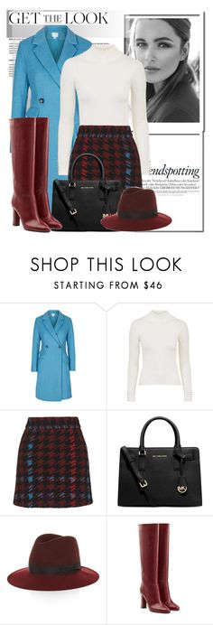 """Get The Look: Bordeaux and Blue..."" by glamorous09 ❤ liked on Polyvore featuring Topshop, Melissa, Michael Kors, rag & bone, Diane Von Furstenberg and modfashion"