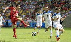 Belgium 1 Russia 0 in June 2014 in Rio de Janeiro. Dries Mertens has a shot blocked in Group H #WorldCupFinals