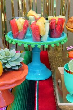Love what decoartions on the serving dish at this Mexican Cinco de Mayo Party. What a great idea and so easy to make!! See more party ideas and share yours at CatchMyParty.com