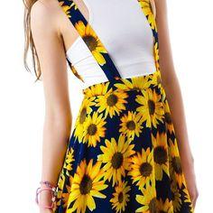Utowu Women Girls Suspender Skirt High Waist Skirt Braces Sunflower Mini A-Line Dress Cute Comfy Outfits, Cute Summer Outfits, Pretty Outfits, Pretty Dresses, Cool Outfits, Sunflower Clothing, Sunflower Dress, Sunflower Garden, Sunflower Print