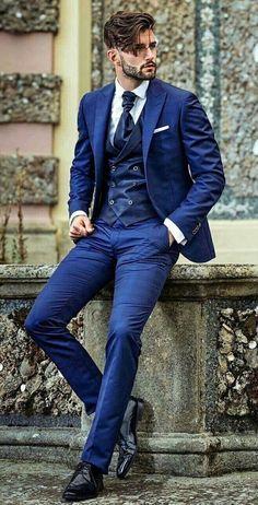 Blue Suit Men, Man In Suit, Men's Blue Suits, Burgundy Suit, Navy Blue Tuxedos, Dark Blue Suit, Suit Combinations, Designer Suits For Men, Suit Accessories