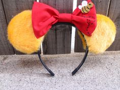 Winnie the Pooh-Inspired Mouse Ear Headband with Bow by ModernMouseBoutique on Etsy