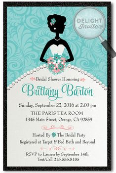Elegant Wedding Dress Bridal Shower Invitations [DI-1503] : Custom Invitations and Announcements for all Occasions, by Delight Invite