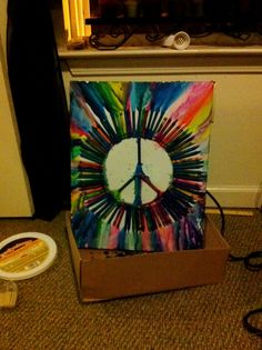 my peace sign crayon art! just used a heat gun!