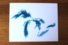 The Great Lakes original 8 x 10 papercut art by Crafterall