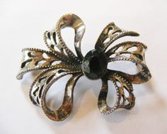 1980's Vintage Bow Brooch set with Jet black faceted glass crystal by RetroroxJewellery on Etsy