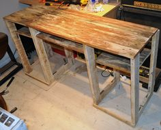 A desk that a friend and I made, completely from pallets (Apart from the screws and brackets obviously!).