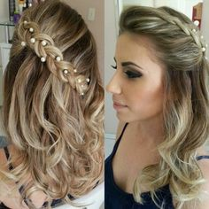 Penteado com tranca sobreposta Unique Wedding Hairstyles, Cute Braided Hairstyles, Side Hairstyles, Easy Hairstyles For Long Hair, Braids For Long Hair, Ponytail Hairstyles, Wavy Hair, Cabello Hair, Hair To One Side