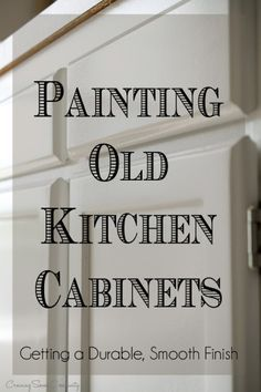 How To Paint Old Kitchen Cabinets How to paint kitchen cabinets to create a durable smooth finish - kitchen cabinet painting tips including deglosser, spraying, prep, and clear coat. How to prevent yellowing and chipping of paint. Update Kitchen Cabinets, Old Cabinets, Kitchen Cabinetry, Kitchen Paint, Kitchen Redo, Kitchen Ideas, Repainting Kitchen Cabinets, Wooden Kitchen, Kitchen Dining