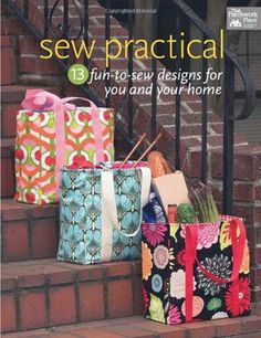 With it's water- and mess-resistant oilcloth lining, this roomy tote makes the perfect grocery bag. From the book Sew Practical: 13 Fun-to-Sew Designs for You and Your Home. Easy Sewing Projects, Sewing Hacks, Sewing Tutorials, Sewing Crafts, Sewing Patterns, Bag Patterns, Sewing Ideas, Sewing Basics, Sewing For Beginners