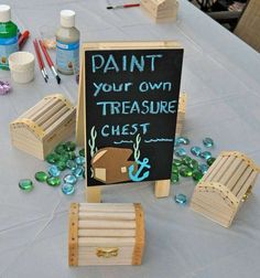 Paint your treasure chest at a pirates and mermaids birthday party! See more party ideas at CatchMyParty.com!