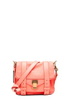 Love this neon coral leather messenger.