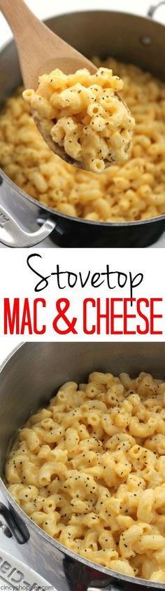 Easy Stovetop Mac & Cheese - Super easy with just 5 ingredients. Perfect side dish that is so much better than store bought. Comfort food at it's best.