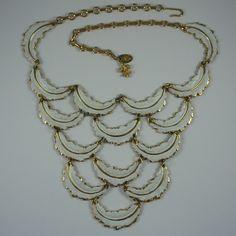 Vendome White Enamelled Feathers Bib Necklace