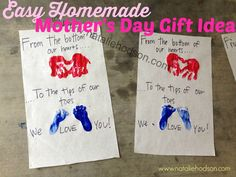 Super easy and cute homemade Mother's Day gift – great to send to Grandma's! Homemade Mothers Day Gifts, Grandma Gifts, Mother Day Gifts, Simple Gifts, Easy Gifts, Fathers Day Crafts, Christmas Items, Me As A Girlfriend, First Birthdays