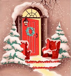 Red door at Christmas.