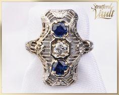 GIA Edwardian Filigree Sapphire & by StratfordVault Sapphire Diamond, Blue Sapphire, Vintage Jewelry, Unique Jewelry, European Cut Diamonds, Filigree, Diamond Cuts, White Gold, Brooch