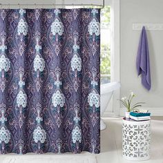 ruffled double swag shower curtain with valance & tie-backs, light
