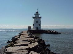 Established and built in 1886, the Saybrook Breakwater Lighthouse near Fenwick, CT, was automated in 1959 and is still an active aid to navigation.