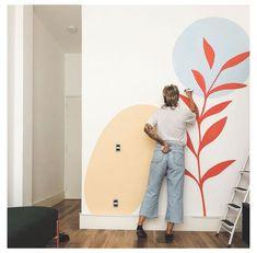 Wall Painting Decor, Wall Decor, Creative Wall Painting, Simple Wall Paintings, Mural Art, Wall Art, Wall Drawing, Paint Designs, Bedroom Wall