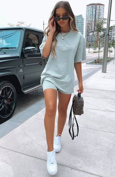 The Signature Bike Shorts Sage. Head online and shop this season's latest styles at White Fox. Teen Fashion Outfits, Mode Outfits, Look Fashion, White Girl Outfits, Best Outfits, White Shoes Outfit, Travel Outfits, Fashion Hats, Crazy Fashion