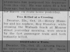 Hunsley, Henry: Killed in Collision with Train