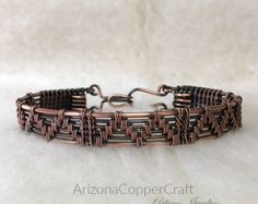 Items similar to Antiqued Copper Wire Weave Bracelet, Copper Wire Bracelet, Wire Wrapped Bracelet on Etsy Copper Wire Jewelry, Copper Cuff, Copper Necklace, Viking Jewelry, Copper Bracelet, Wire Earrings, Wire Wrapped Bangles, Woven Bracelets, Bracelets For Men